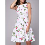 Buy Trendy Round Neck Sleeveless Cherry Print Women's Knee-Length Dress XL