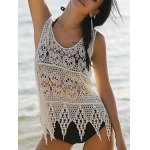 Stylish Scoop Neck Hollow Out Asymmetric Women's Crocheting Cover-Up