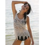 cheap Stylish Scoop Neck Hollow Out Asymmetric Women's Crocheting Cover-Up