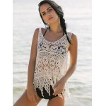 Stylish Scoop Neck Hollow Out Asymmetric Women's Crocheting Cover-Up deal
