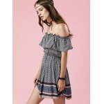 best Trendy Off The Shoulder Printed Waisted Mini Dress For Women