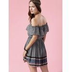 Trendy Off The Shoulder Printed Waisted Mini Dress For Women photo