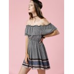 Trendy Off The Shoulder Printed Waisted Mini Dress For Women for sale
