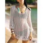 Alluring 3/4 Sleeve Hollow Out Fringed Women's Cover-Up
