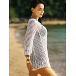 Alluring 3/4 Sleeve Hollow Out Fringed Women's Cover-Up deal