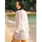 Alluring 3/4 Sleeve Hollow Out Fringed Women's Cover-Up for sale