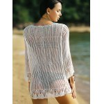 best Alluring 3/4 Sleeve Hollow Out Fringed Women's Cover-Up