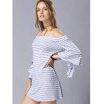 cheap Stylish 3/4 Sleeve Off The Shoulder Fitting Striped Women's Dress