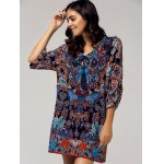 cheap Vintage Style Scoop Neck 3/4 Sleeve Printed Dress For Women