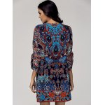 Vintage Style Scoop Neck 3/4 Sleeve Printed Dress For Women for sale