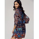 Vintage Style Scoop Neck 3/4 Sleeve Printed Dress For Women deal