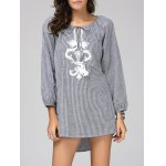 Chic Scoop Neck Long Sleeve Striped Embroidered Blouse For Women