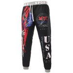 cheap Beam Feet American Flag Statue of Liberty Letters Print Hit Color Lace-Up Men's Loose Fit Sweatpants