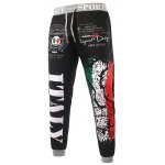 cheap Loose Fit Stylish Lace-Up Italy National Emblem Print Beam Feet Men's Polyester Sweatpants