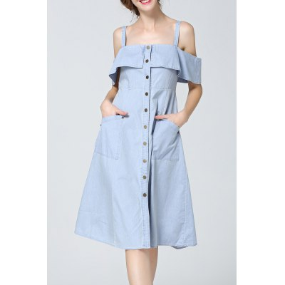 Cold Shoulder Flounced Denim Dress