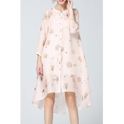 Button Front High Low Print Dress