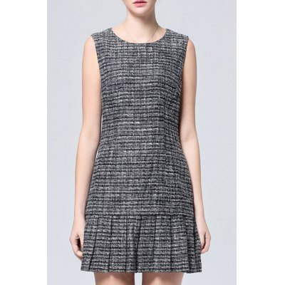 Slimming Patchwork Pleated Dress