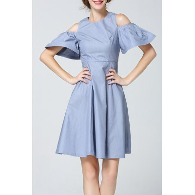 Bell Sleeve Cold Shoulder Denim Dress