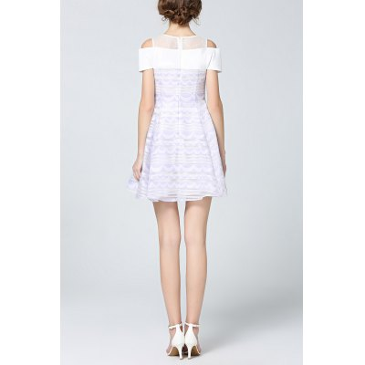 Shoulder Cut Out Lace Spliced DressDesigner Dresses<br>Shoulder Cut Out Lace Spliced Dress<br><br>Style: Cute<br>Occasion: Causal,Day,Work<br>Material: Nylon,Polyester,Spandex<br>Composition: Outer Composition:100% Polyester&lt;br&gt;Lining Composition:7% Sapndex,93% Nylon<br>Silhouette: A-Line<br>Dresses Length: Mini<br>Neckline: Jewel Neck<br>Sleeve Length: Short Sleeves<br>Pattern Type: Striped<br>With Belt: No<br>Season: Spring,Summer<br>Weight: 0.270kg<br>Package Contents: 1 x Dress