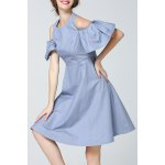 Bell Sleeve Cold Shoulder Denim Dress deal