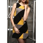 Sleeveless Color Blcok Mini Dress