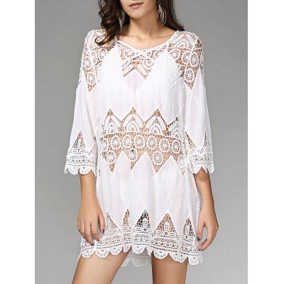 Stylish 3/4 Sleeve Hollow Out Cover Up Dress