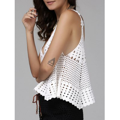 Alluring Plunging Hollow Out Cover-Up Tank Top