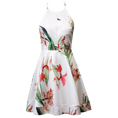 Halter Floral Print Backless Back Bowknot Ball Gown Dress