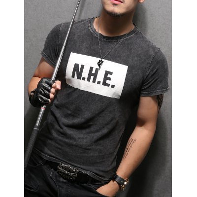 Letter Printing Pullover Round Collar Short Sleeves T-Shirt For Men