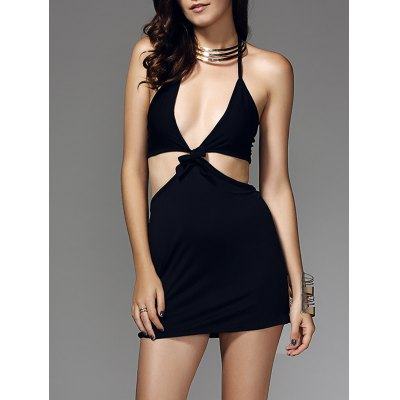 Halter Cut Out Knot Dress For Women