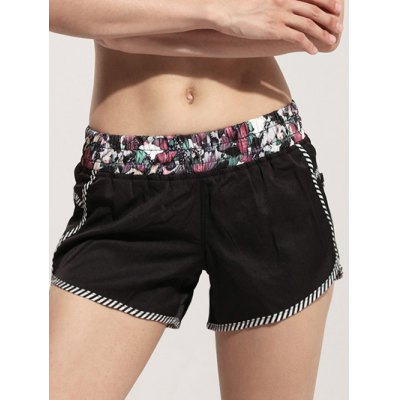 Active Elastic Waist Floral Print Women's Mini Shorts