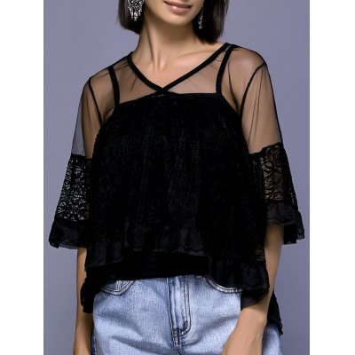 V-Neck Flare Sleeve See-Through Blouse Set For Women