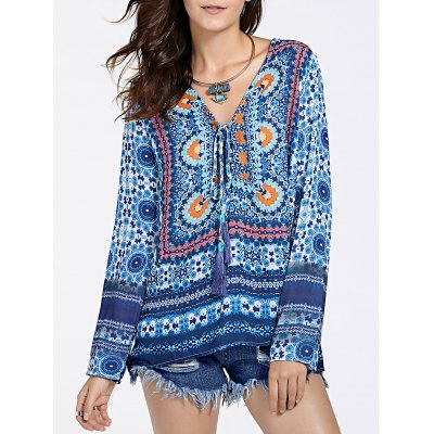 Ethnic Plunging Neckline Print Long Sleeve Tunic For Women