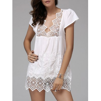 Fashionable Plunging Neck Short Sleeve Crochet Top For Women