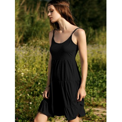 Casual Tiered Solid Color Women's Camisole Dress