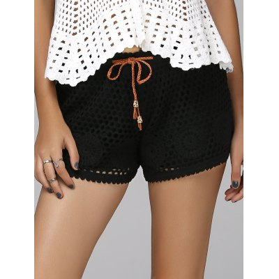 Sweet Drawstring Hollow Out Women's Shorts