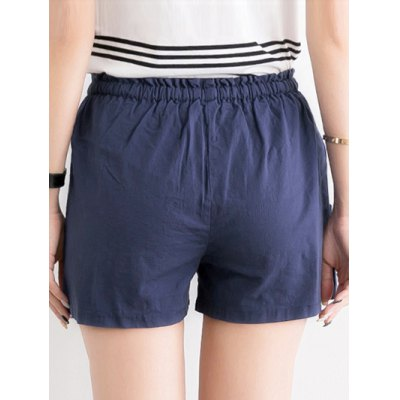 chic-women-pure-color-pocket-deign-drawstring-shorts