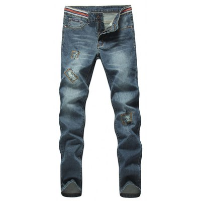 Straight Leg Zipper Fly Jeans
