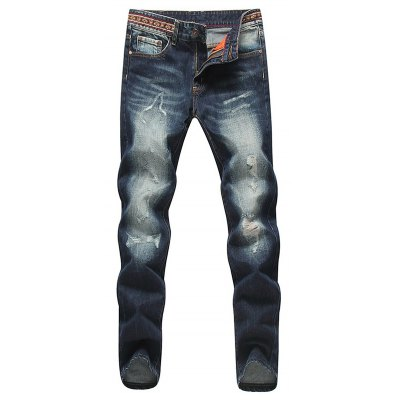 Modish Straight Leg Bleach Wash Zipper Fly Men's Ripped Jeans