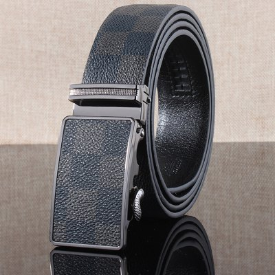 Stylish Automatic Buckle Classical Checked Pattern Belt For Men