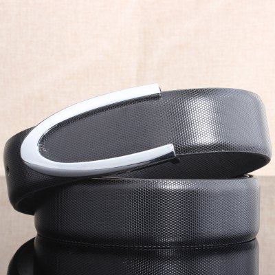 Letter U Shape Embellished Black Belt For Men
