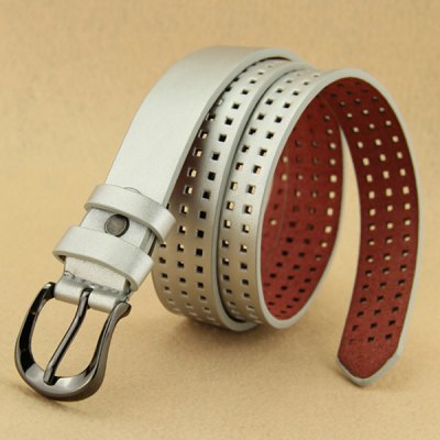Stylish Casual Plaid Design Perforated Belt For Women