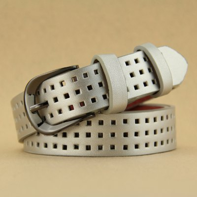 Casual Plaid Design Perforated Belt For Women