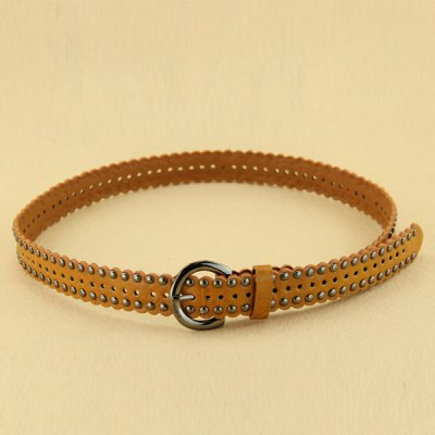 Stylish Pin Buckle Rivet Perforated Wavy Edge Light Coffee Belt For Women