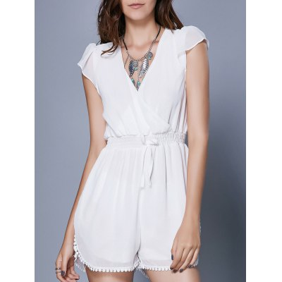 Alluring Short Sleeve Plunging Neck Women's Romper