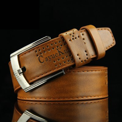 Stylish Name Letters Embossed Small Hole Cool Punk Belt For Men