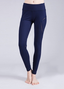 Sporty Solid Color Stretchy Voile Patchwork Yoga Pants For Women
