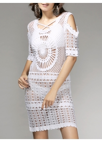 Stylish Short Sleeve Hollow Out See-Through Women's Cover Up Dress