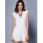 cheap Alluring Short Sleeve Plunging Neck Women's Romper