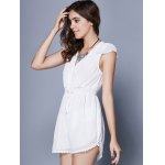 Alluring Short Sleeve Plunging Neck Women's Romper deal